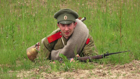 Russian soldier with a rifle. The first world war. Footage