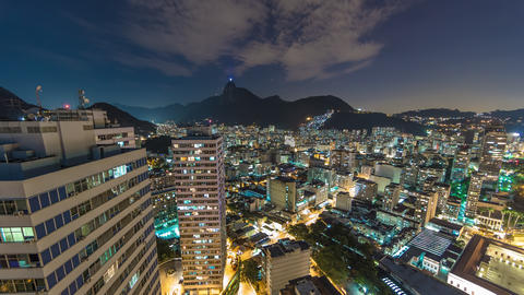 Night time lapse of city from rooftop in Rio Live Action