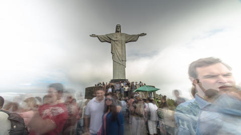 Time-lapse of Christ the Redeemer Statue and the tourists around it Footage