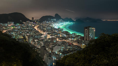 Time lapse shot of coast in Rio de Janeiro with Sugar Loaf in background Footage
