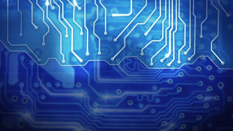 blue computer circuit board loop background, Stock Animation