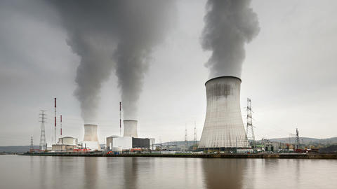 Nuclear Power Station Time Lapse, Zooming In Footage