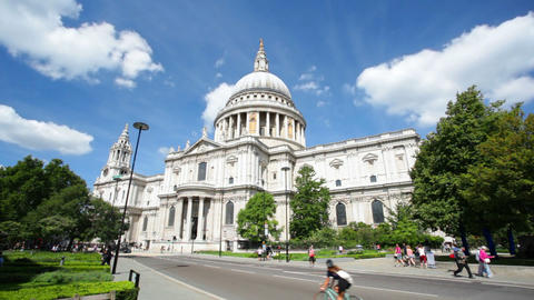 St. Paul's Cathedral In London With Tourists, Edit stock footage