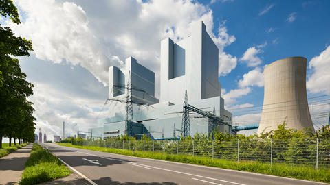 Power Station And Road Timelapse stock footage