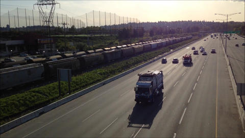 High Angle With Backlighted Shot Of Highway Number stock footage