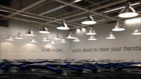 Return shopping cart inside Ikea Footage
