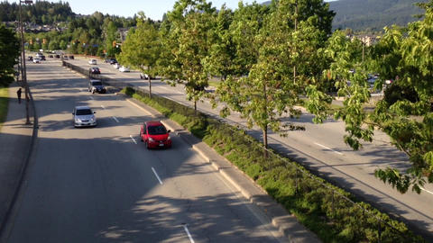 High Angle Shot Of Tow Ways Traffic stock footage