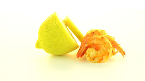 Shrimp with lime Footage