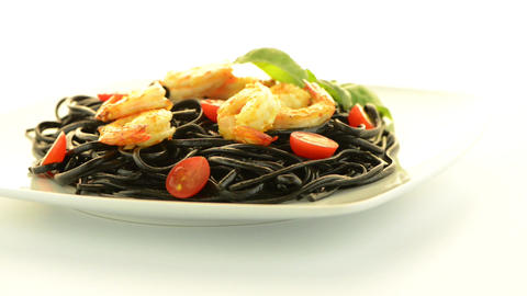 Black spaghetti with shrimps Footage