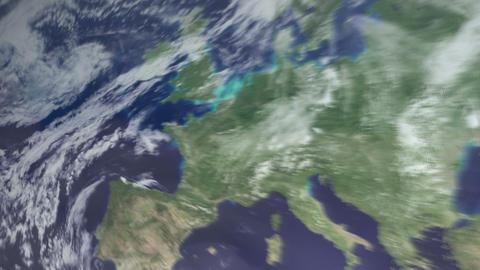 3DCG地球ヨーロッパへズームインして ライブ動画