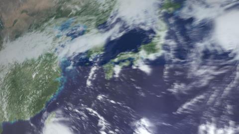 3DCG地球韓国へズームインして雲の上 ライブ動画