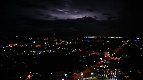 sequence of dramatic lightnings over big city at n Footage