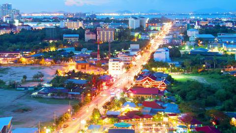 night view of Pattaya city, Thailand timelapse 4k  Footage