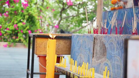candles and smoking prayer sticks Footage