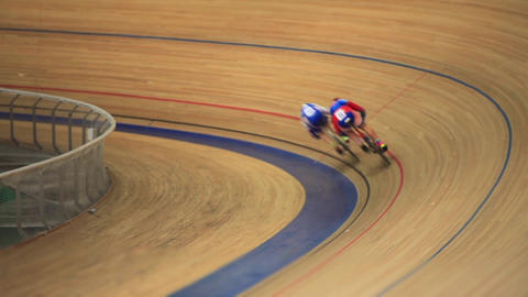 Bike Pursuit in velodrome sequence Live Action
