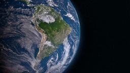 Earth 3d view from space. South America Animation