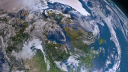 Earth 3d view from space. Canada Animation