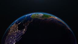 Earth view from space with night city lights. Nort Animation