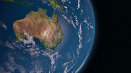 Earth 3d view from space. Oceania Animation