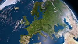 Earth 3d view from space. Europe Animation