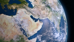 Earth 3d view from space. Middle East Animation
