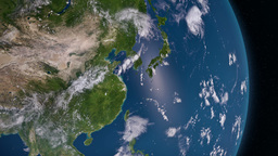 Earth 3d view from space. Asia Animation