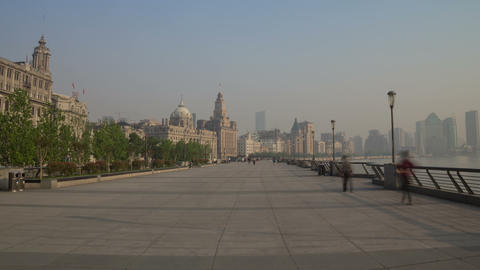 Bund embankment day walk hyperlapse Footage