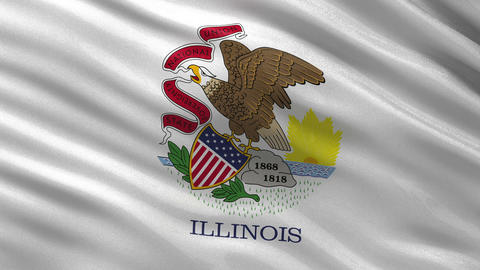US state flag of Illinois seamless loop Animation