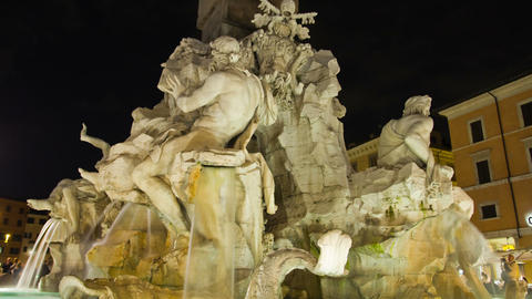 Four Rivers Fountain. Piazza Navona in Rome, Italy Footage