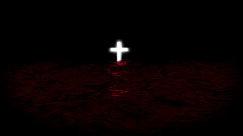 Shining cross on red sea Animation