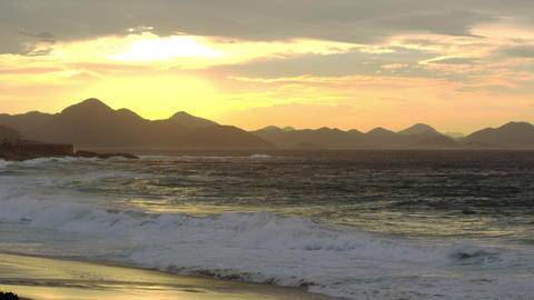 Waves breaking on Ipanema beach at sunset Footage