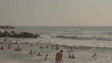 Crowded beach Footage