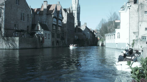 Boats on the river with people. Bruges, Belgium Footage