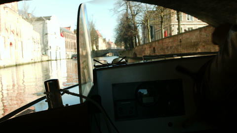 Shot From A Boat. Helm Of Boat. Bruges, Belgium stock footage