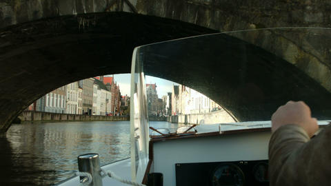 Shot from a boat. Helm of boat. Bruges, Belgium Footage