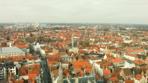 Top view of the city of Bruges, Belgium Footage