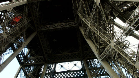 Eiffel tower metal construction. Shot from inside. Footage
