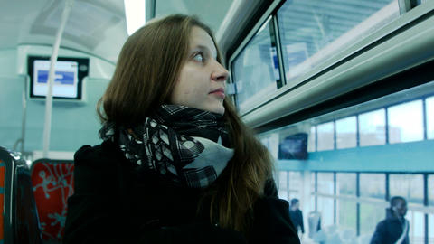 Young Woman Traveling By Train stock footage