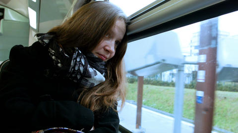 Young woman traveling by train Footage