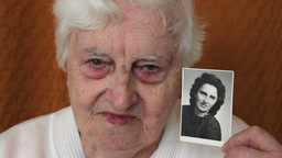 Old Woman With Her Picture When She Was Young. Age stock footage