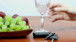 Drunk Driving. Don't Drink And Drive. Red Wine stock footage