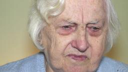 Sad, pensive old woman Footage