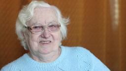 Portrait of happy, smiling elderly woman Footage