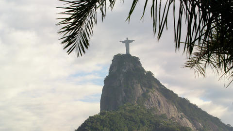 Pan of Christ statue and Corcovado on cloudy day Footage