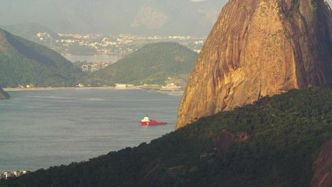 Pan of Guanabara Bay landmarks Footage