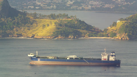 Barge moving across Guanabara Bay Footage