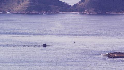 Submarine moving through Guanabara Bay Footage