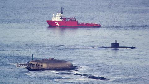 Barge and submarine moving through Guanabara Bay Footage