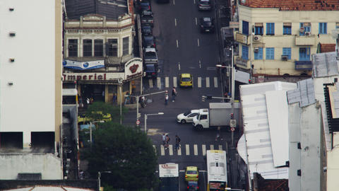 High-angle footage of busy Rio de Janeiro intersection Footage