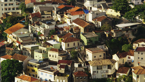 Static shot of rooftops in a favela in Rio De janeiro Footage